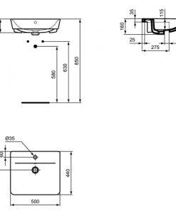 Мивка за полувграждане 50 см CONNECT AIR