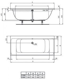 Правоъгълна двустранна вана за вграждане 170х75 см CONNECT AIR размери