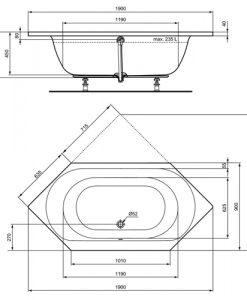 Шестоъгълна акрилна вана за вграждане 190х90 см CONNECT AIR размери