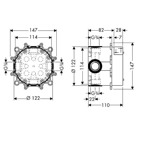 Вграден смесител за вана и душ LOGIS 71605000_тяло за вграждане размери