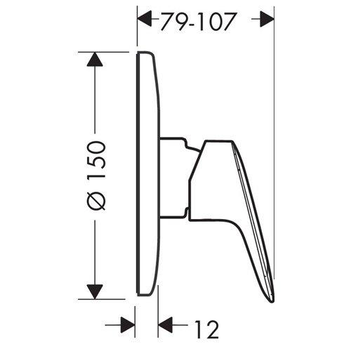 Вграден смесител за душ LOGIS 71666000 размери