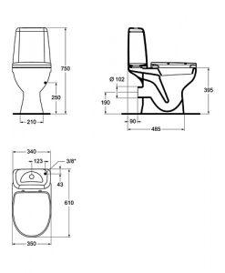 Моноблок KORONA ELEGANCE с хоризонтално оттичане и капак soft W908001