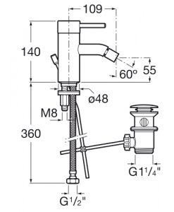 Смесител за биде с автоматичен изпразнител LANTA A5A6011C00 размери