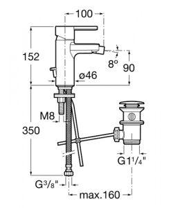 Смесител за биде с автоматичен изпразнител NAIA A5A6096C00 размери