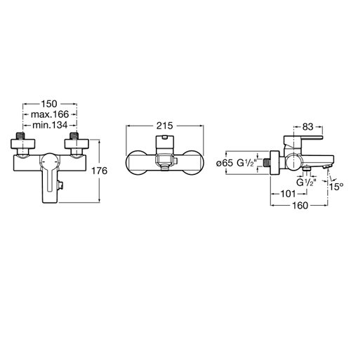 Смесител за вана и душ с автоматичен превключвател NAIA A5A0296C00 размери