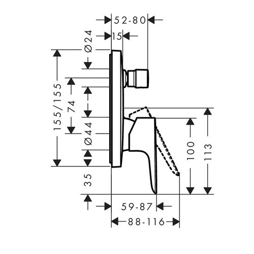 Смесител за вграждане за вана и душ TALIS E размери