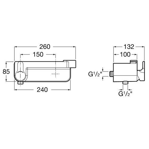 Смесител за душ с полица и вграден държач за слушалка DECK A5A2088C00 размери