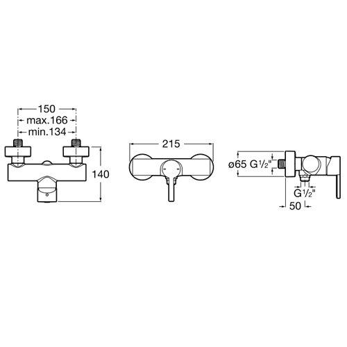 Смесител за душ NAIA A5A2196C00 размери