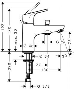 Смесител за мивка за душ FOCUS 31930000