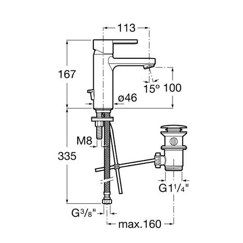 Смесител за мивка с автоматичен изпразнител и Cold Start NAIA A5A3096C00 размери