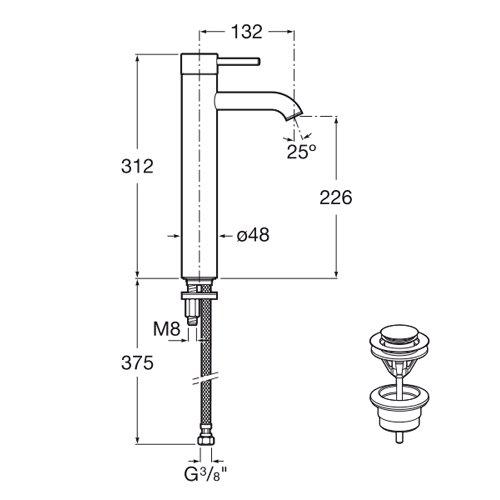 Смесител за мивка с висок чучур и click clack клапа Cold Start LANTA A5A3411C00 размери