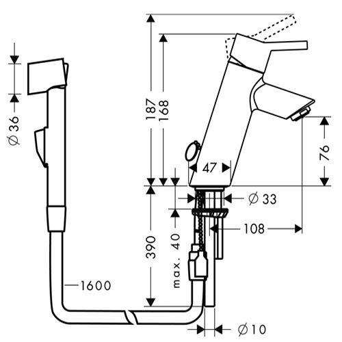 Смесител за мивка с хигиенен душ TALIS размери
