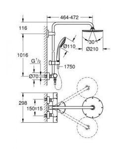Душ система с термостат Grohe EUPHORIA XXL SYSTEM 210 27964000