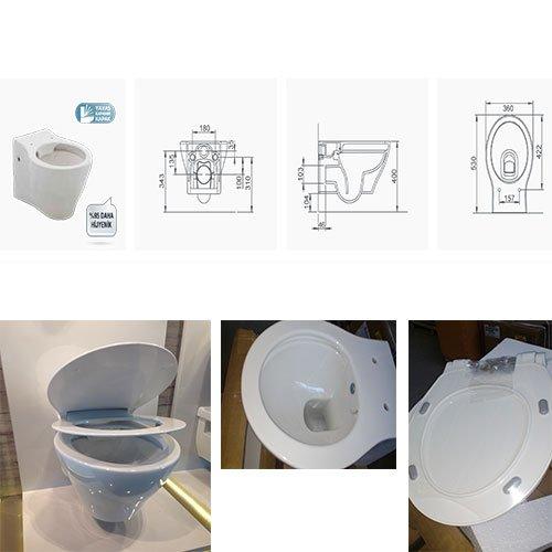 Окачена тоалетна с биде SANTRA RIMFREE