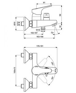 Стенен смесител за вана и душ SEVA NEXT B1925AA