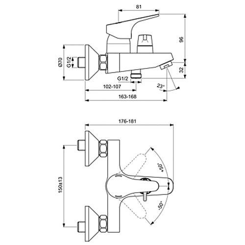 Стенен смесител за вана и душ SEVA NEXT B1925AA размери