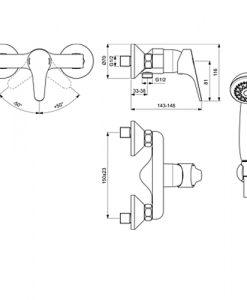 Стенен смесител за душ с аксесоари SEVA NEXT B1924AA