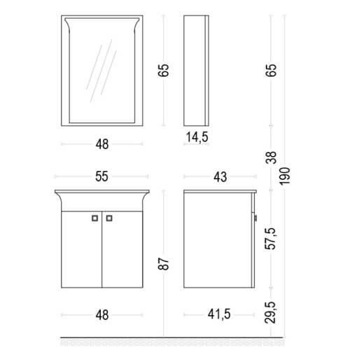 PVC Шкаф за баня комплект ЛИНЕА 55 размери