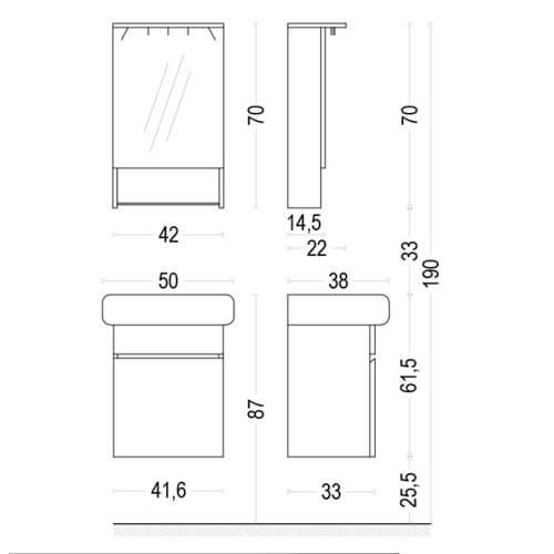 PVC Шкаф за баня комплект ЛОРА 50 размери