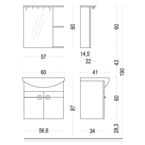 PVC Шкаф за баня комплект НИЯ 60 размери