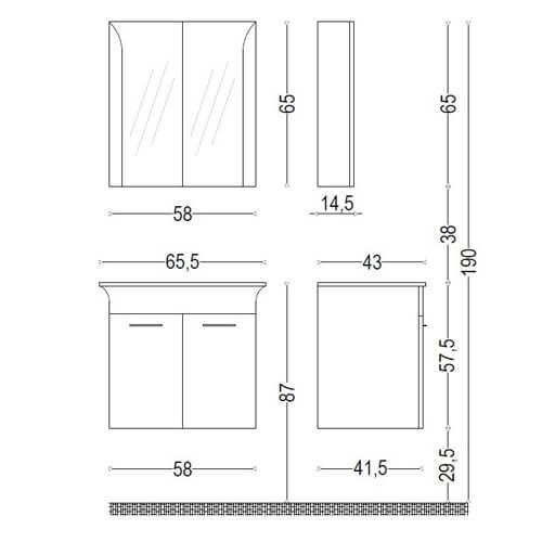 PVC шкаф за баня комплект ЛИНЕА 65 размери