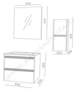 PVC шкаф за баня AR 045 F