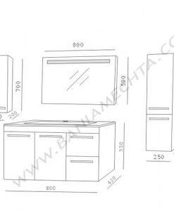 PVC шкаф за баня AR 080 F