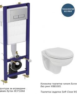 Конзолна тоалетна без ринг EUROVIT и структура за вграждане с бутон