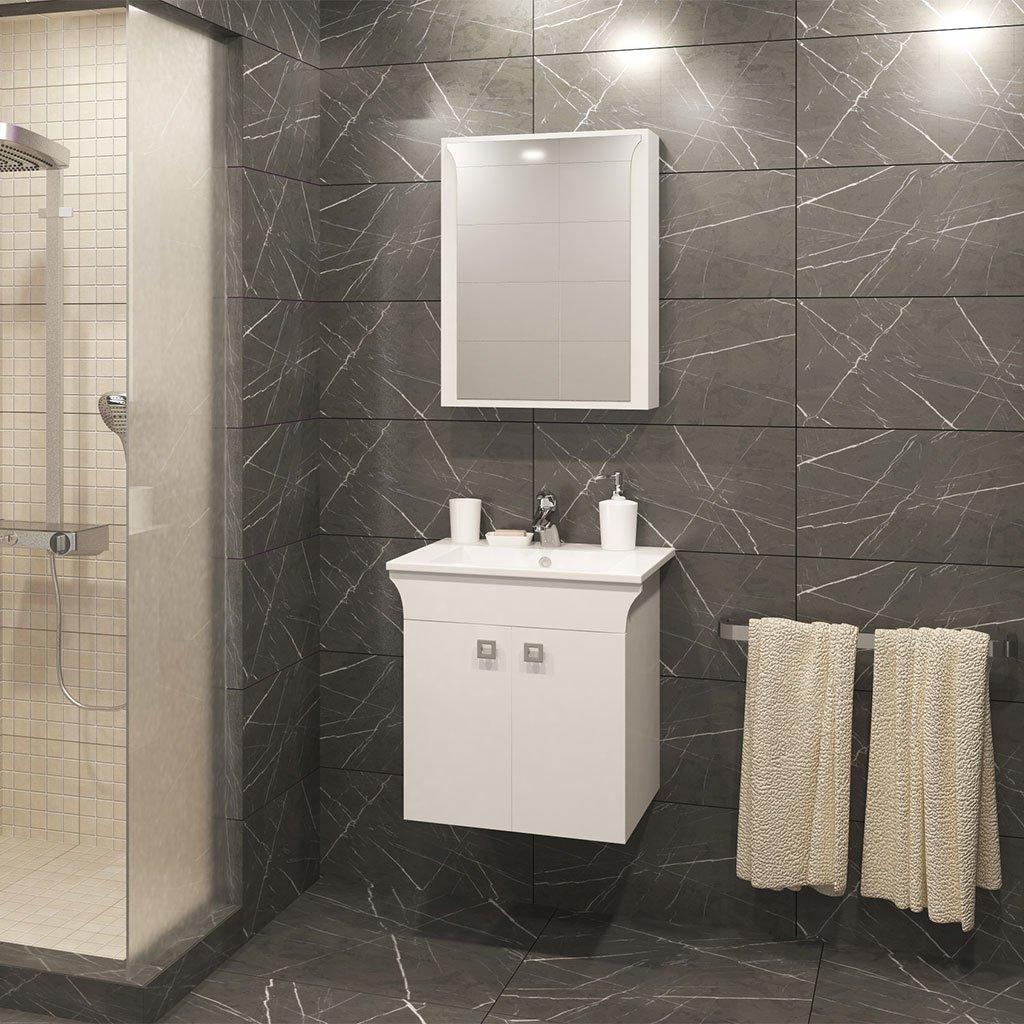 PVC Шкаф за баня комплект ЛИНЕА 55