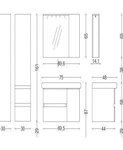 PVC Шкаф за баня TRAFIC NEW 75