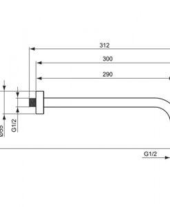 Рамо за монтаж към стената IDEALRAIN CUBE 300 мм B9444AA