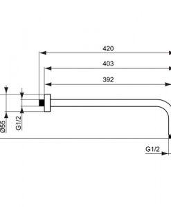 Рамо за монтаж към стената IDEALRAIN CUBE 400 мм B9445AA