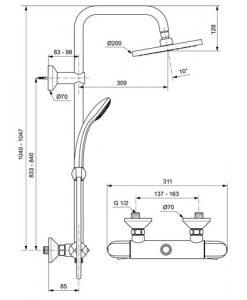 Душ система със стенен термостатен смесител CERATHERM 25 A6421AA