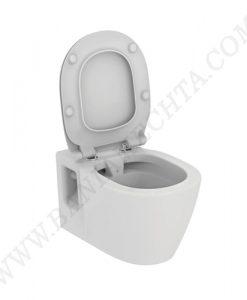Окачена тоалетна чиния без ринг със седалка без капак Е824401 с лостов крепеж за хора с намалена подвижност