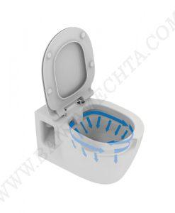 Окачена тоалетна чиния без ринг със седалка с капак Е822801 с лостов крепеж за хора с намалена подвижност
