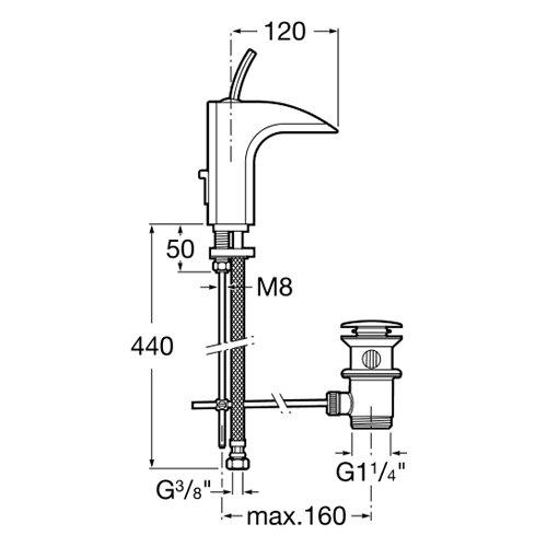 Смесител за мивка с изпразнител ROCA EVOL A5A3049C00 размери