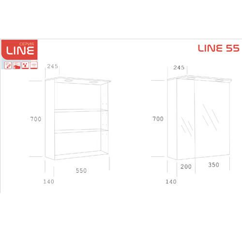 PVC Шкаф за баня с LED осветление LINE 55 см размери