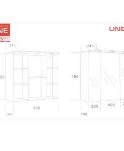 PVC Шкаф за баня с LED осветление LINE 80 см размери