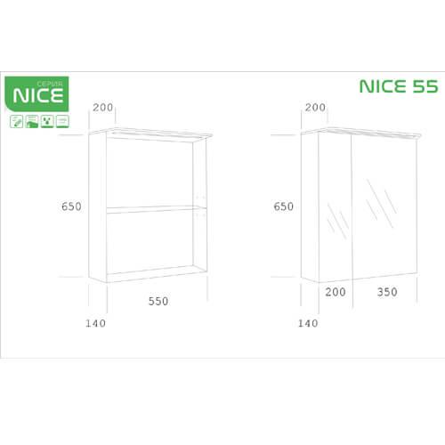 PVC Шкаф за баня с LED осветление NICE 55 см размери