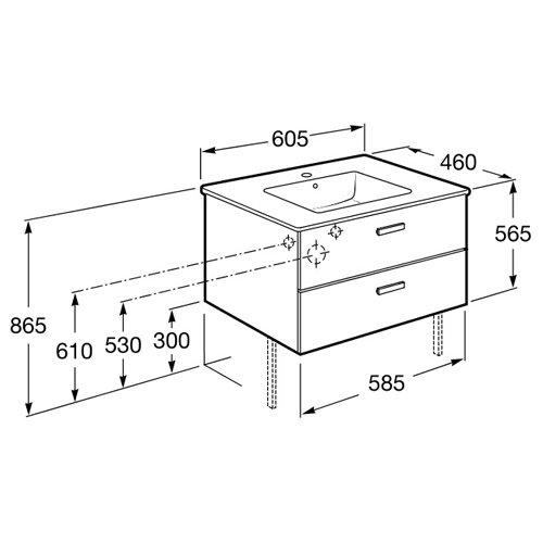 Долен шкаф за баня VICTORIA BASIC 60 см размери