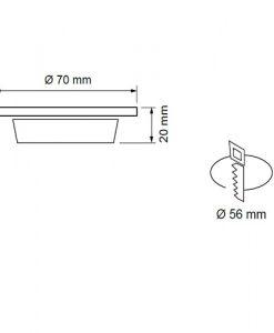 Мини LED луна за вграждане неутрална светлина LML220442SN сатен никел