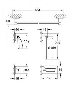 Комплект аксесоари за баня GROHE ESSENTIALS 40344001