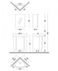 Комплект ъглов ПВЦ шкаф за баня Кара 46