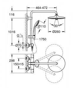 Термостатна душ колона GROHE EUPHORIA SYSTEM 260 27296002