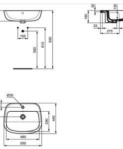 Мивка за полувграждане IDEAL STANDARD ESEDRA T2905 55см