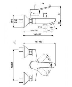 Стенен смесител за вана/душ VIDIMA SCORPIO BC168AA
