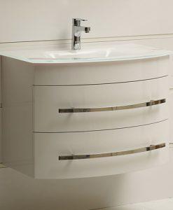 Шкаф за баня със стъклен бял умивалник 0853W