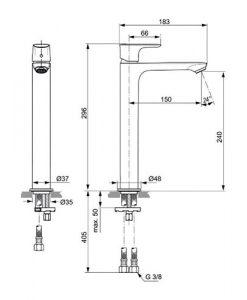 Висок смесител за мивка без изпразнител CONNECT AIR A7027AA
