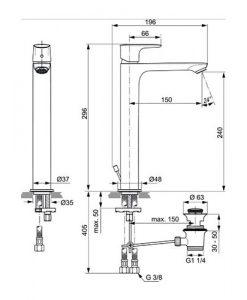 Висок смесител за мивка с изпразнител CONNECT AIR A7025AA