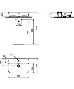 Мивка за монтаж в/у плот IPALYSS IDEAL STANDARD E139301